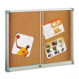 Vitrina para anuncios. Superficie corcho natural y puertas de cristal. Medidas 60 x 80 cm REF 604-1